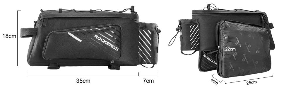 ROCK BROS Bike Trunk Bag 13L Maximum Capacity