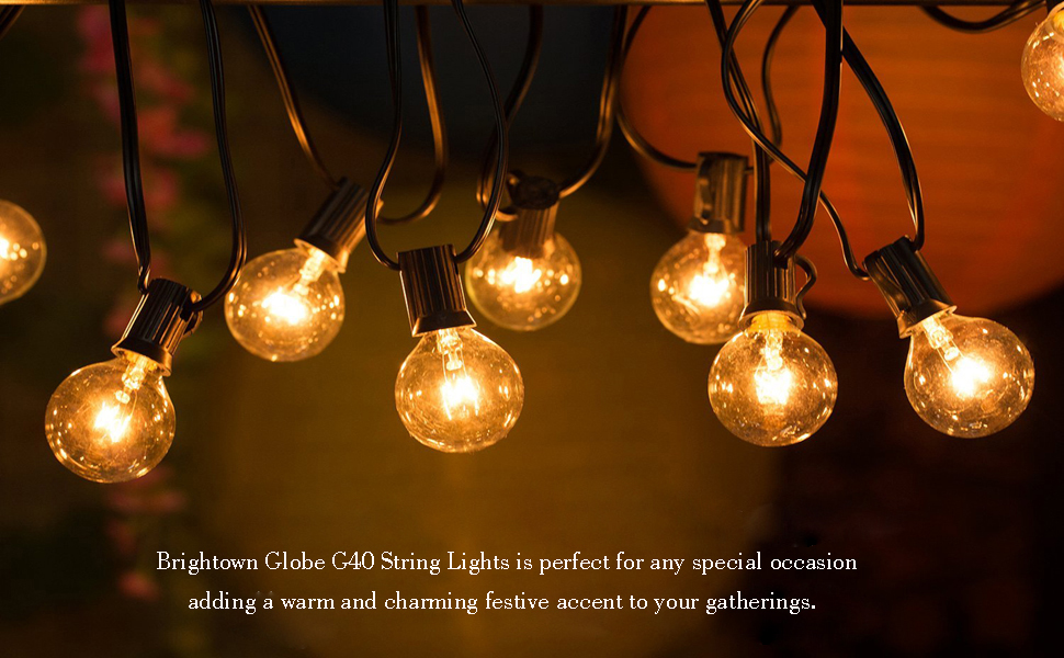 100FT G40 Globe String Lights with 100Clear Bulbs, Outdoor Market Lights for Outdoor and Indoor ...
