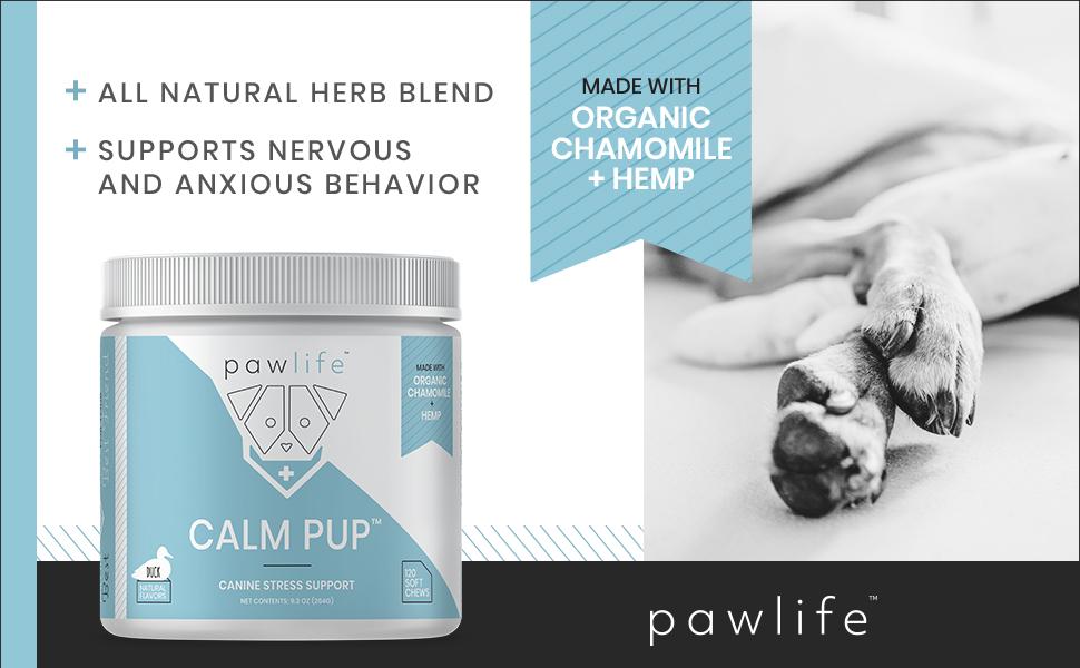 hemp oil organic chamomile dog anxiety anxious calming aid treats for dogs relief herbs