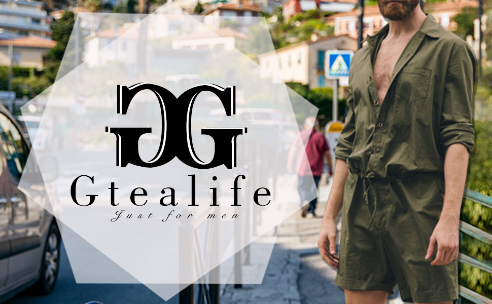 cab6d2ea9b3e Gtealife Mens Long Sleeve Rompers Drawstring Shorts Jumpsuit Rompers(Choose  One Size Down)