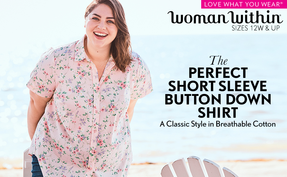0a73405e perfect short-sleeve button down shirt classic style breathable cotton soft  spring summer floral