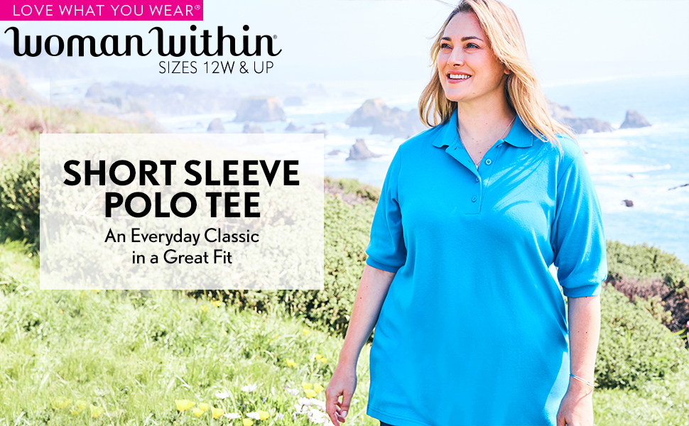Navy 2X Woman Within Womens Plus Size Elbow-Sleeve Tunic Polo Shirt