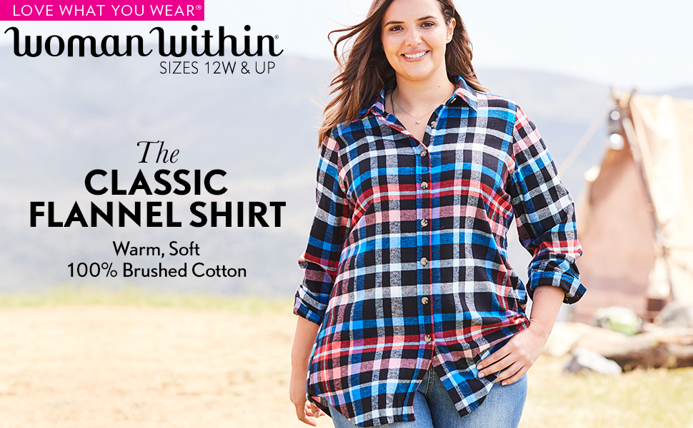 9531312fa34 Woman Within Plus Size Classic Flannel Shirt at Amazon Women s ...