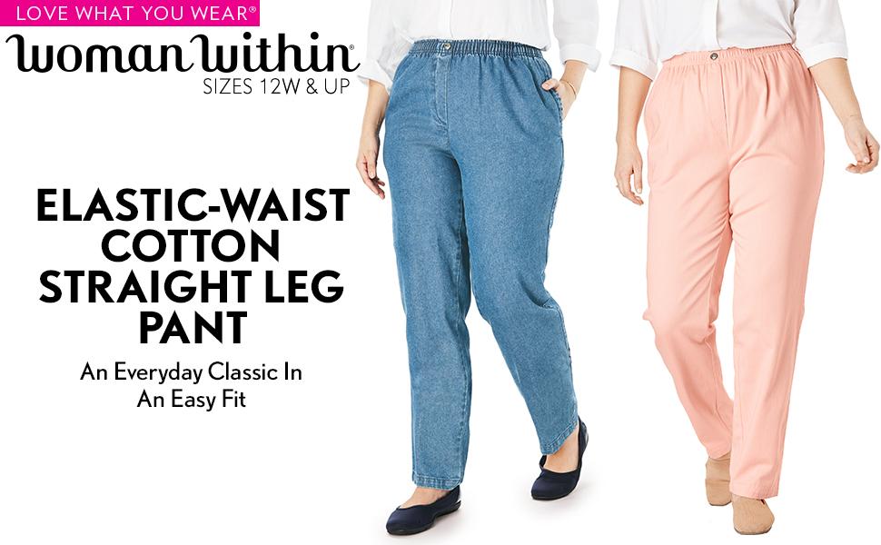 elastic waist cotton straight leg pant classic comfortable trousers joggers leggings jeans slacks