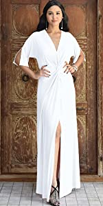 Womens Long Short Sleeve V-Neck Sexy Slimming Casual Summer Maxi Dress