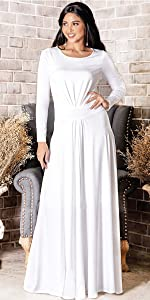 Womens Long V-Neck Full Sleeve Semi Formal Flowy Evening Cute Maxi Dress