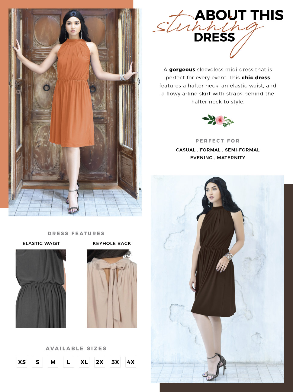 01232fb5200 Womens Sleeveless Halter Neck Flowy Work Knee Length Day Sexy Midi Dress