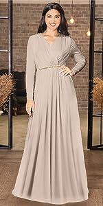Womens Long Sleeve V-Neck Floor Length Elegant Wrap Waist Maxi Dress