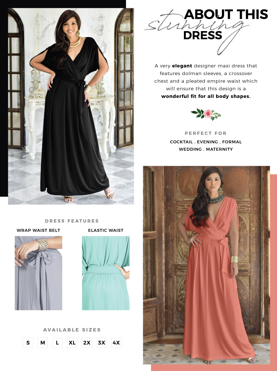 880f4e880 Formal Short Sleeve Cocktail Flowy V-Neck Gown. womens ladies elegant  stunning maxi dress midi dresses jumpsuits offshoulder maternity evening  style