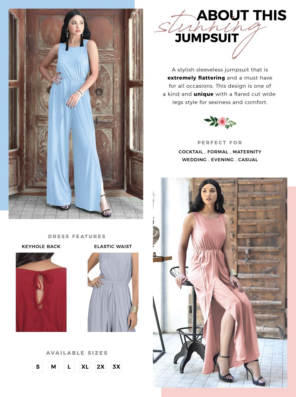 womens plus size glamorous party cocktail evening jumpsuit sleeveless style  high slit design trend. womens ladies elegant stunning maxi dress ... 30932437d