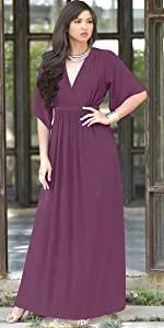 Women's Kaftan Short Sleeve Empire Waist Flowy V-neck Maxi Dress Gown