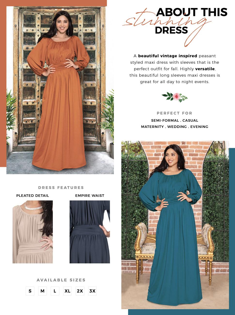 73cf505b7e09 Womens Sleeve Vintage Peasant Empire Waist Pleated Fall. womens ladies  elegant stunning maxi dress ...