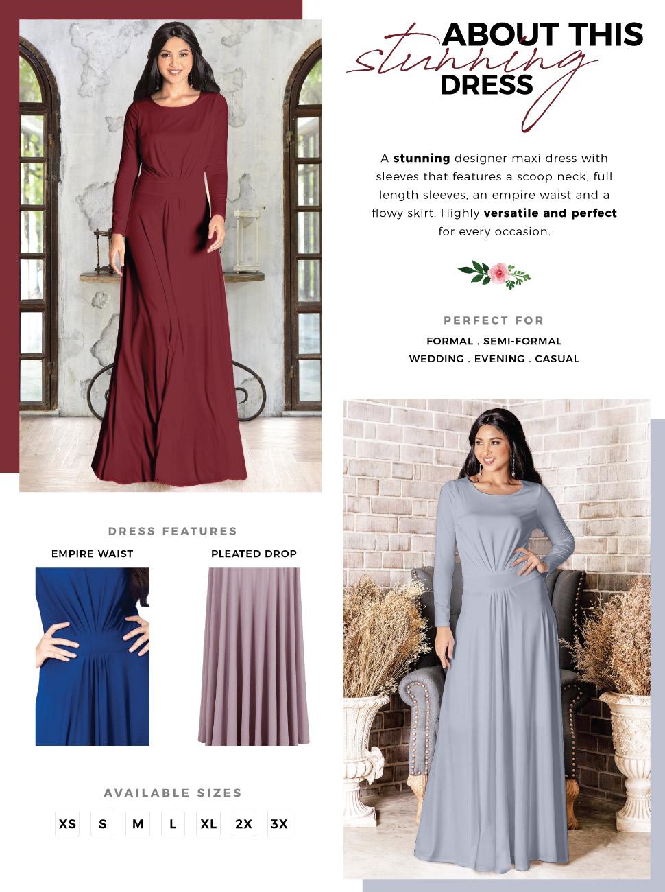 88c2a5806c7 Sleeve Flowy Empire Waist Fall Winter Party Gown. womens ladies elegant  stunning maxi dress ...