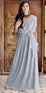 Formal Short Sleeve Cocktail Flowy V-Neck Gown