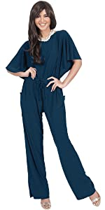 Womens Short Sleeve Long Pants Suit Jumpsuit Playsuit One Piece Romper