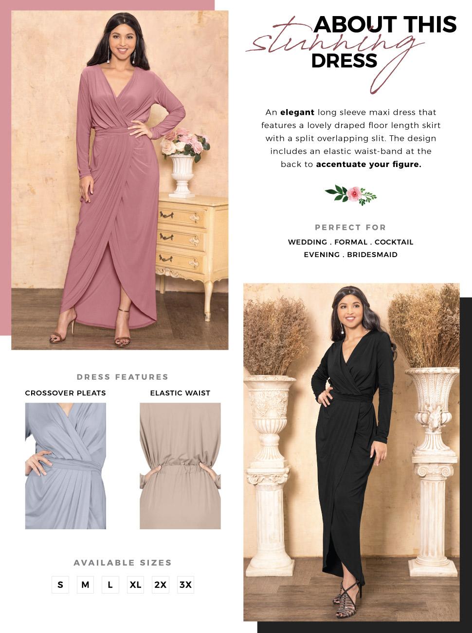 73bb1fadb6b KOH KOH Womens Long Sleeve Formal Wrap Draped Cocktail V-Neck Gown Maxi  Dress