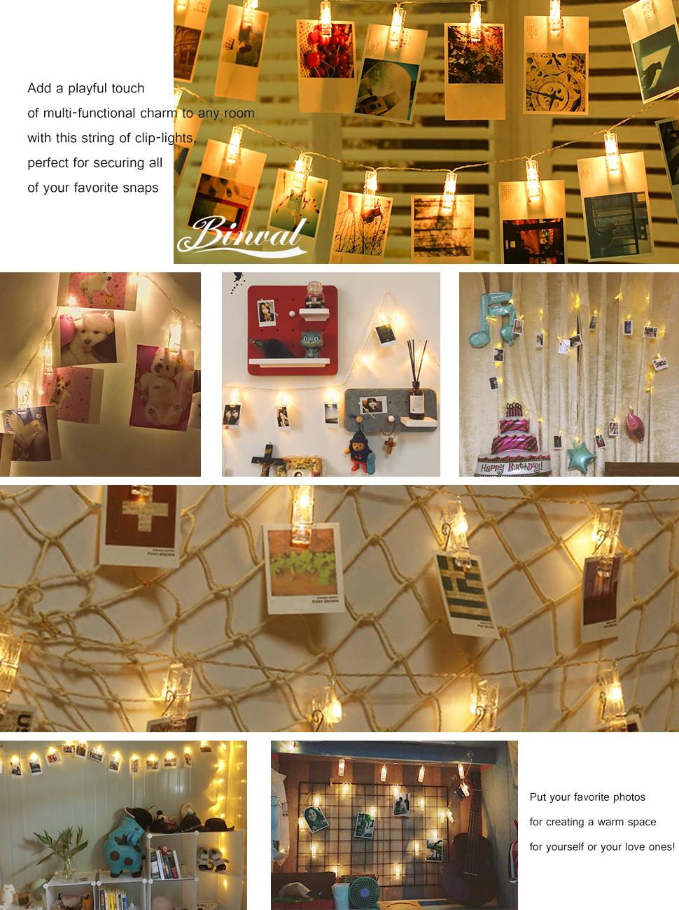 Amazon Com Binval Photo Clip String Lights Hang