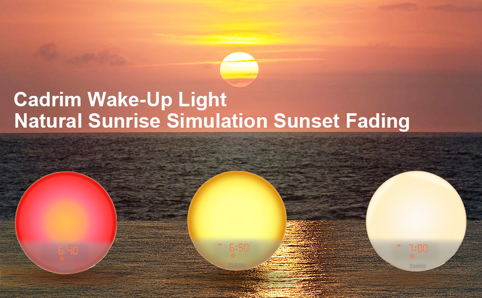 Wake- Up Light, Alarm Clock Colored Sunrise Simulation & Sleep Aid Feature, Dual Alarm Clock