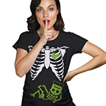 frankenstein baby bump ribcage skeleton halloween costume maternity tee crazydog tshirts pregnant