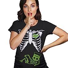 frankenstein baby bump ribcage skeleton halloween costume maternity tee crazydog tshirts pregnant