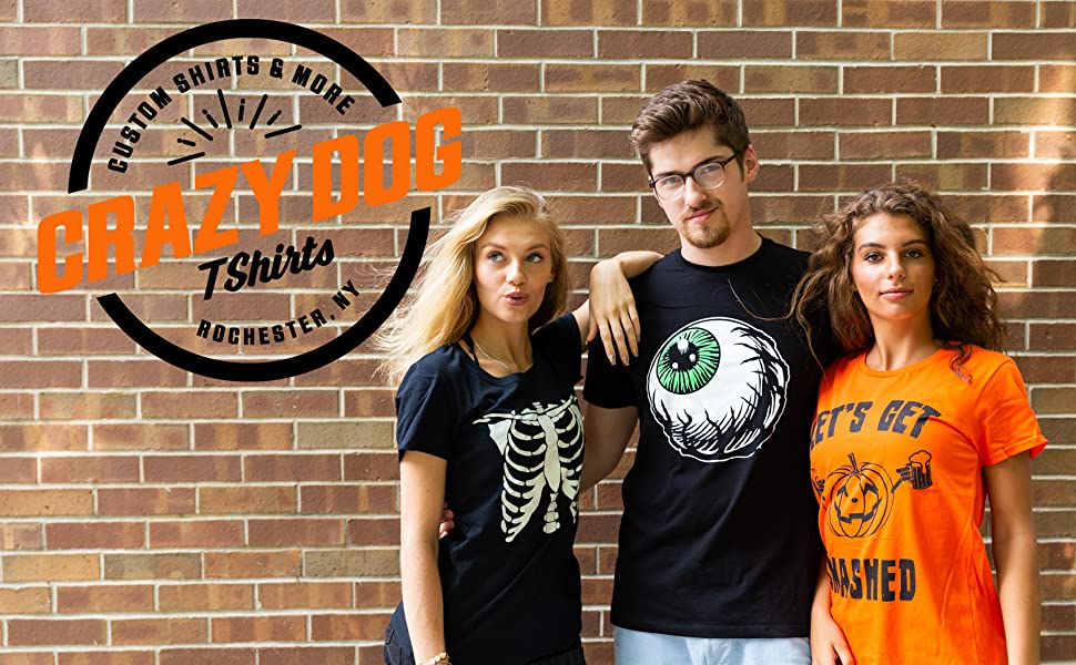 halloween logo crazydog tshirts skeleton smashed eyeball costume trick or treat funny tees cute