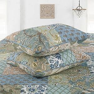quilted art pillow shams bohemian