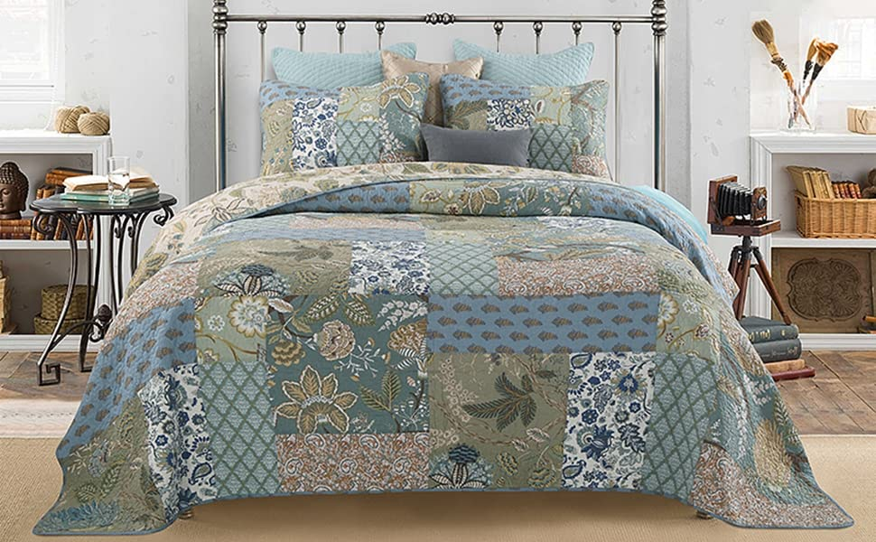leaves cotton quilt set patchwork blue