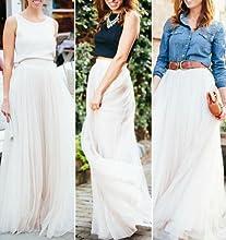3a829bb46e CoutureBridal Long Tulle Skirt for Womens Elastic Tutu Maxi Skirts ...