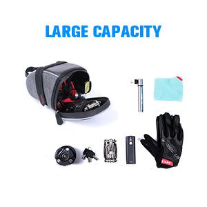 Capacity of bike seat bag