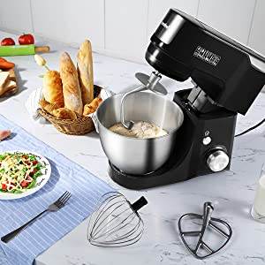 4 Outlets with 7 Speeds /& Pulse Control and 15 Minutes Timer Planetary Mixer /¡/ Comfee 4.75Qt 7-in-1 Multi Functions Tilt-Head ABS housing Stand Mixer with SUS Mixing Bowl