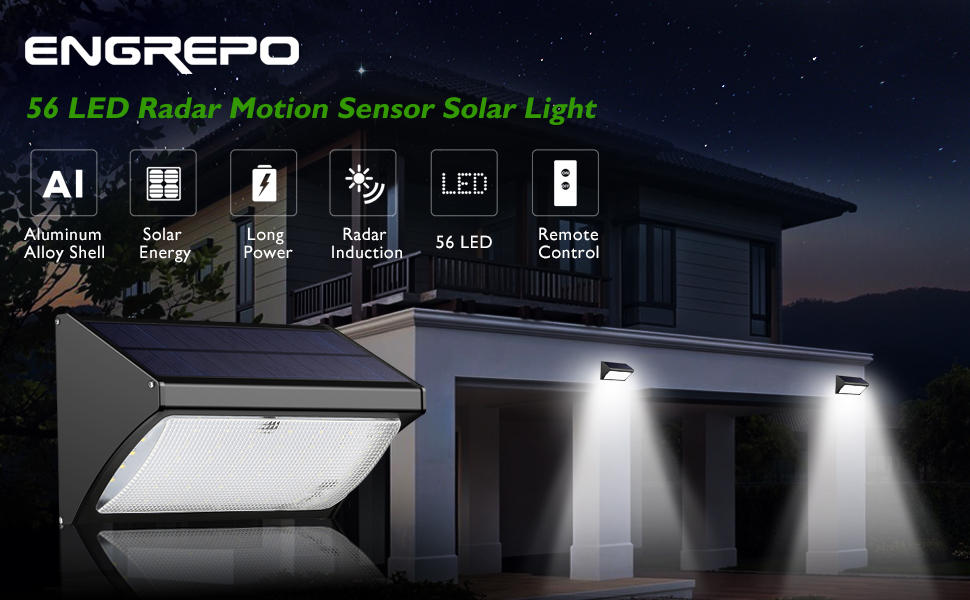 Led Outdoor House Lights Amazon engrepo 56 led 1000 lumens solar lights outdoor uses 1000lm 56 led outdoor 360 radar motion sensor solar lights with remote control workwithnaturefo