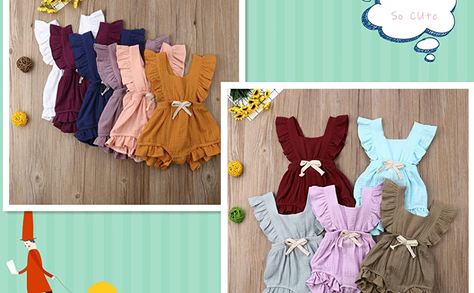 WEUIE Newborn Baby Girl Romper Bodysuit Ruffle Bowknot One-Piece Jumpsuit Outfit Clothes Summer 0-24M