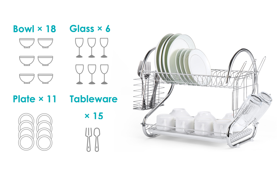 Large Drying Capacity: hold up 11plate,6 glass,18bowl and 15 tableware