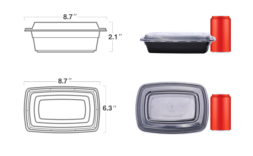 "Size:8.70"" (L) x 6.2"" (W) x 1.7"" (H)  32 oz Single Compartments containers Food Grade Safe, BPA Free"