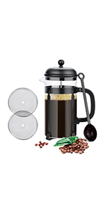 Glass French Press Coffee & Tea Pot for Coffee/Tea/ Camping/Office