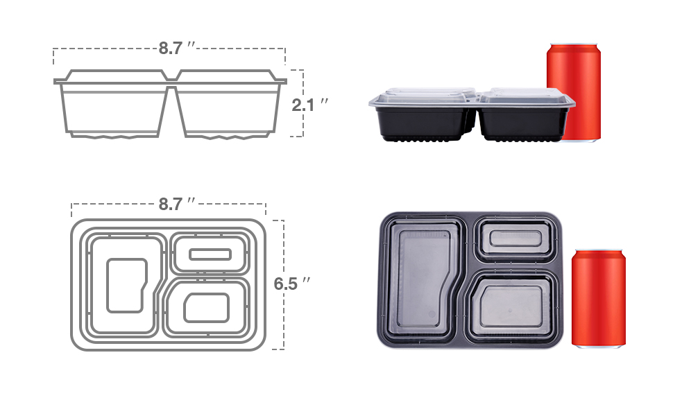 "50 Packs 34oz 3 compartment Meal Prep Containers to go containers Dimensions: 8.4"" x 7.2"" x1.7"""