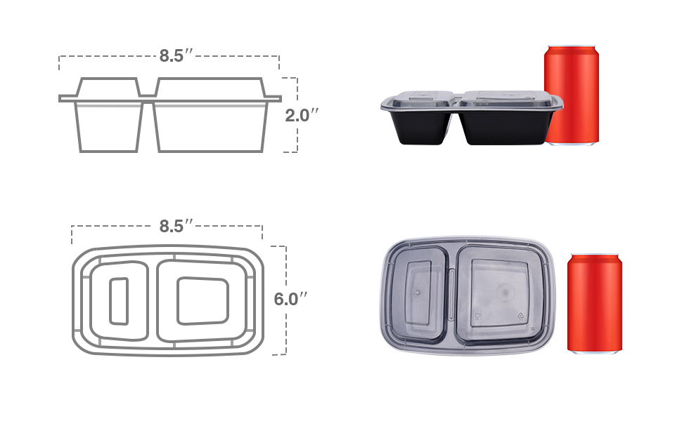 "50 Packs 2 Compartments 32 oz Meal Prep Containers Dimensions: 8.4"" x 6"" x1.77"""