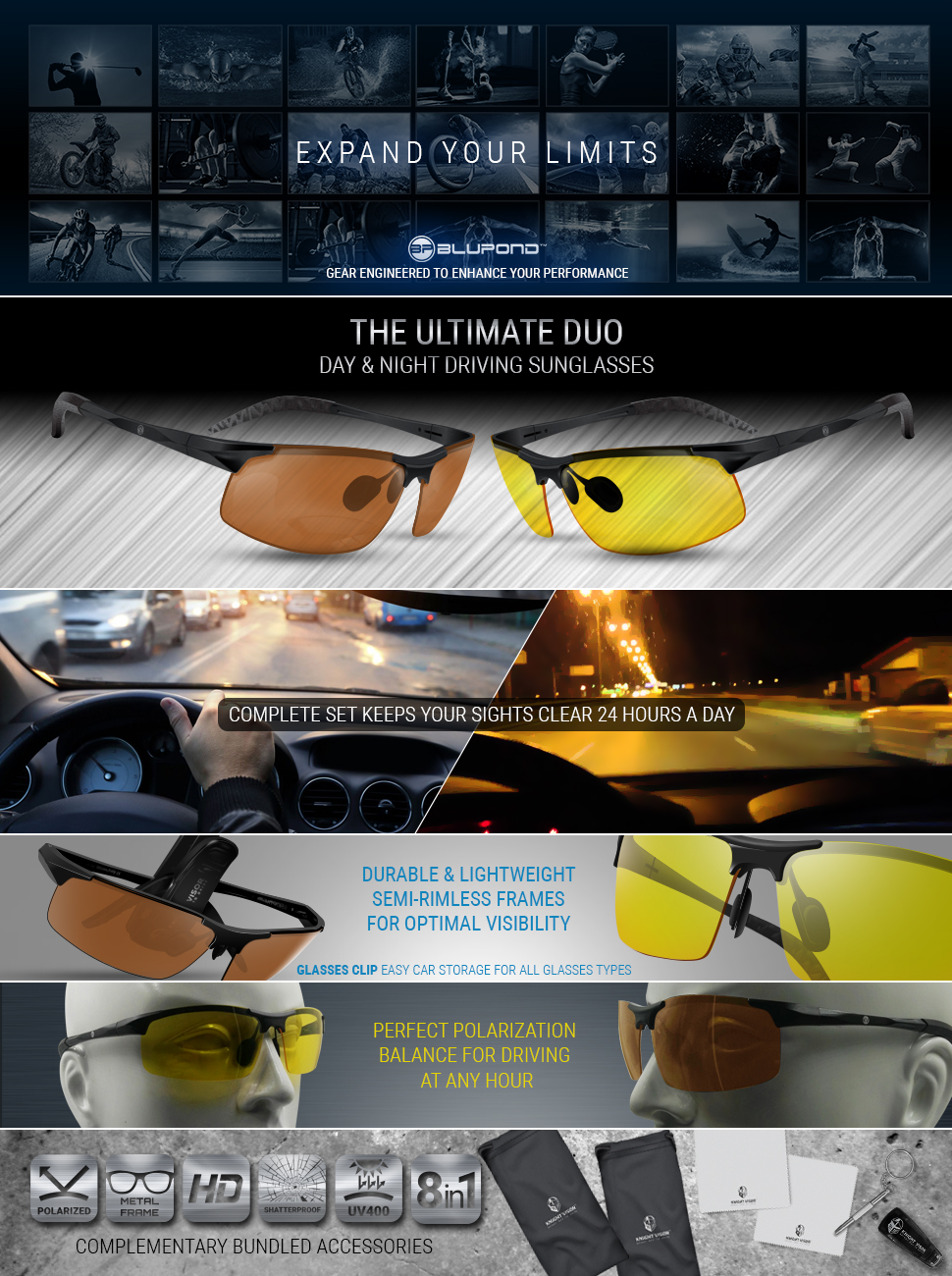 e85df63f2a0 BLUPOND Set of 2 Anti-Glare HD Vision Sunglasses - Daytime Polarized Copper  and Yellow Tint Night Driving Glasses with CAR Clip Holder - Knight Visor