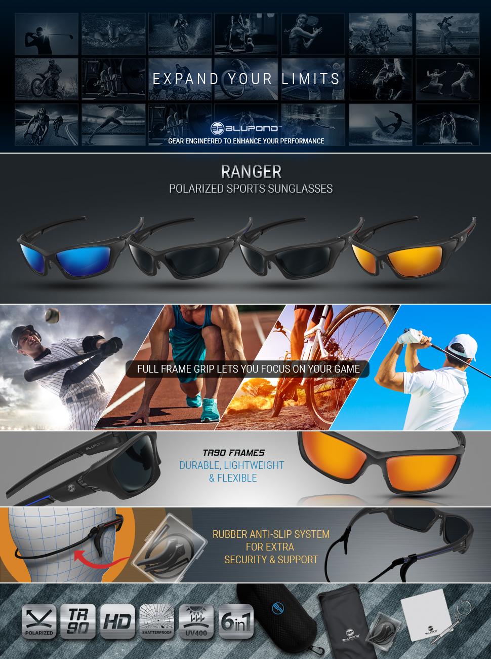 87b929c4819 Amazon.com   BLUPOND Polarized Sports Sunglasses for Men - TR90 ...