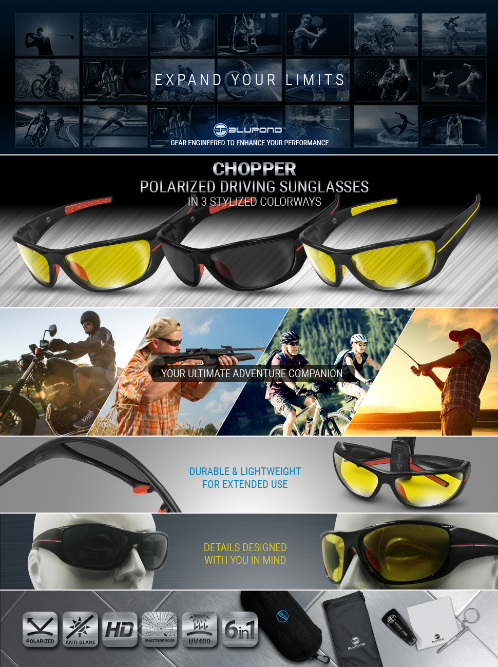 40e9a10f644 Chopper Motorcycle Goggles - Bikers Sunglasses - Riding Glasses. BLUPOND ...