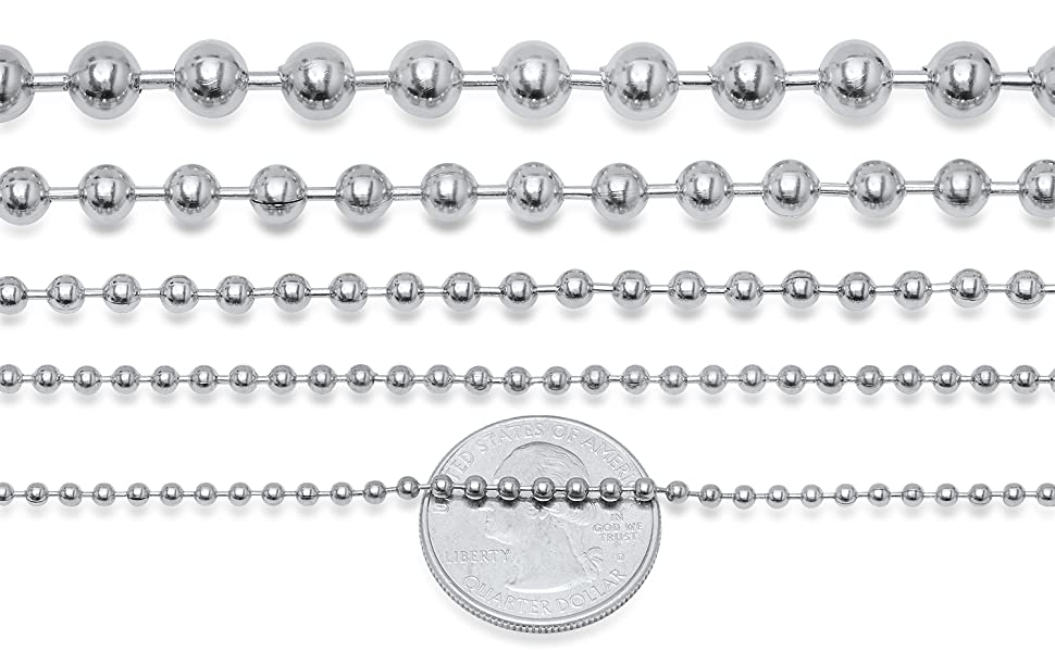Stainless steel bead ball military chain necklace smooth thick thin