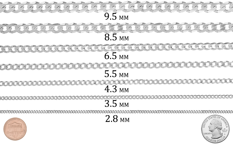 Men S 10 5mm 925 Sterling Silver Beveled Curb Choker Chain Necklace 20 Inches Jewelry Cloth Pouch Amazon Com