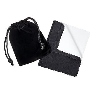 Premium Velvet Pouch & Microfiber Jewelry polishing cleaning cloth