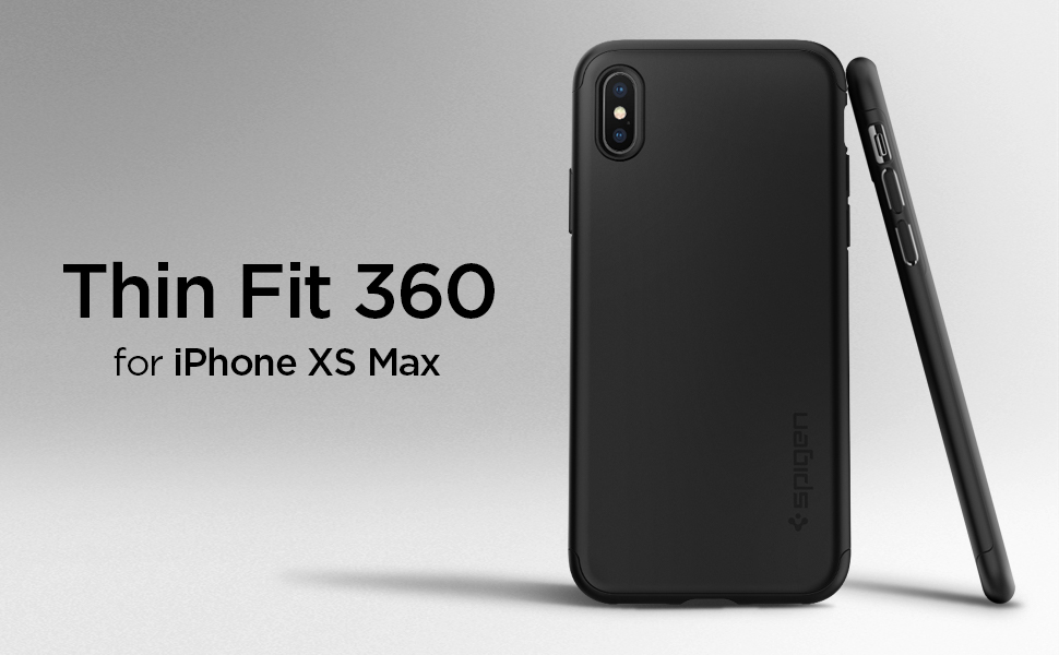 the latest 94137 ef22f Spigen Thin Fit 360 Designed for Apple iPhone Xs MAX Case (2018) Tempered  Glass Screen Protector Included - Black