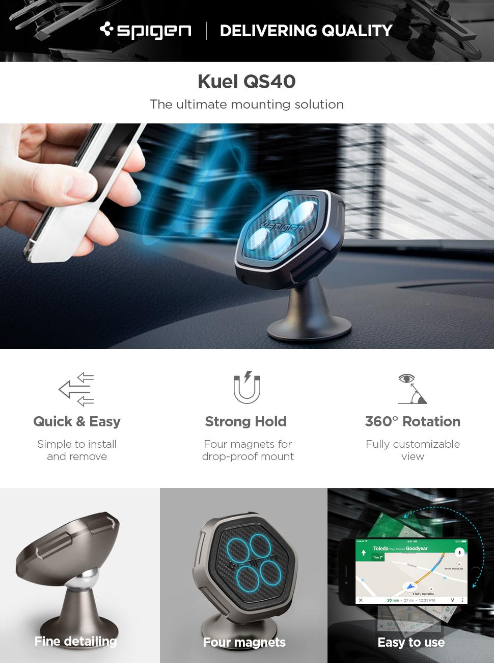 huge selection of b3ddd 565b3 Spigen Kuel QS40 Car Phone Mount Metal Body Quad Magnetic Dash Board Phone  Holder Compatible with Most Smartphones