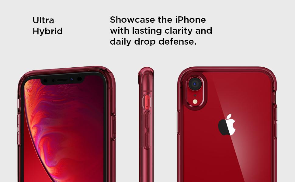 watch 90418 3da8f Spigen Ultra Hybrid Designed for Apple iPhone XR Case (2018) - Red