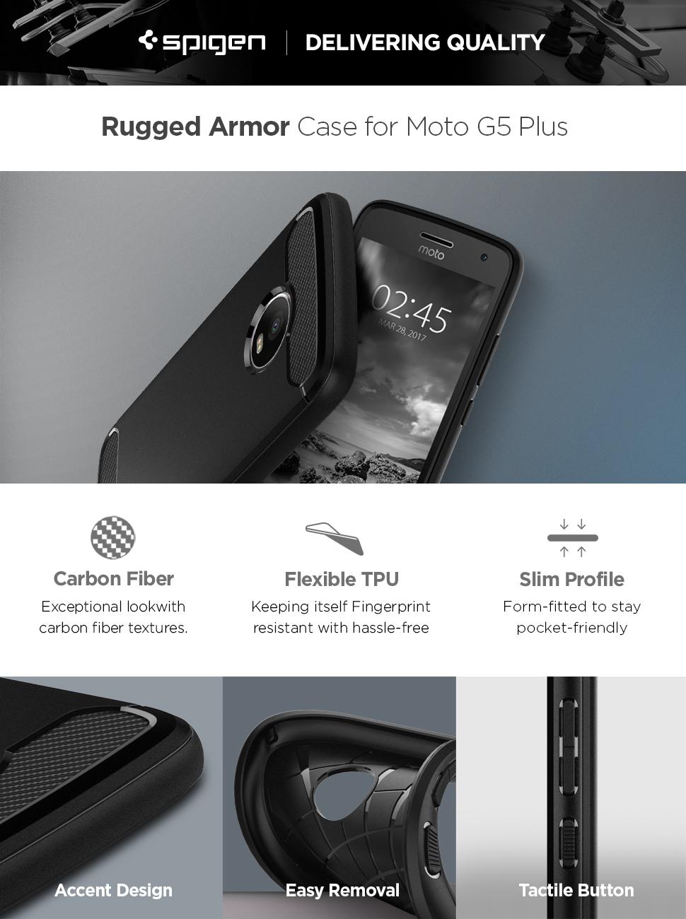 Spigen Rugged Armor Designed for Moto G5 Plus Case (2017) - Black