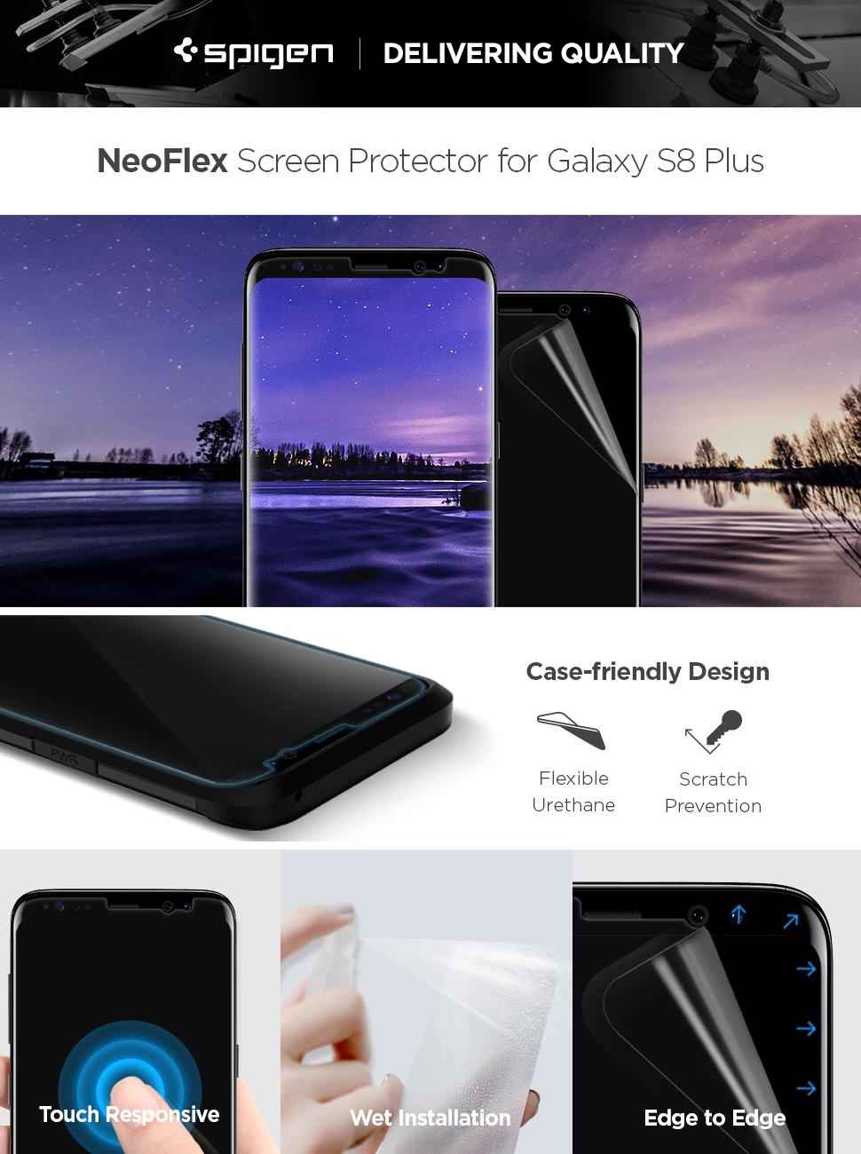 huge discount 62346 2e8e3 Spigen NeoFlex Galaxy S8 Plus Screen Protector [ Flexible Film ] [ Case  Friendly ] for Samsung Galaxy S8+ (2 Pack)