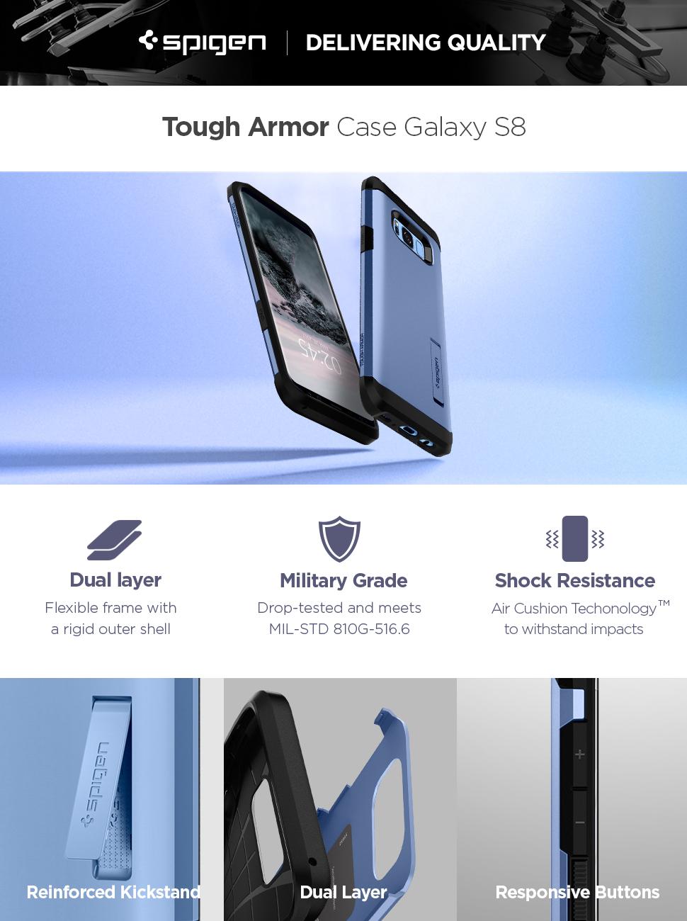 purchase cheap c9a21 64a1f Spigen Tough Armor Designed for Samsung Galaxy S8 Case (2017) - Coral Blue