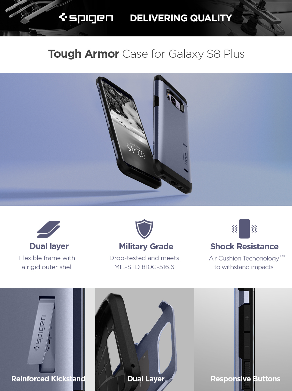 Spigen Galaxy S8 Plus Case Tough Armor Orchid Gray
